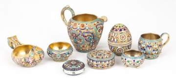 Group of Russian Silver & Enameled Articles