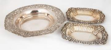 Sterling Silver Serving Bowl & Two Trays
