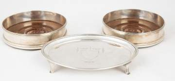 Silver Tea Stand and Two Silver Wine Coasters