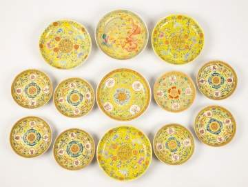 Thirteen Chinese Porcelain Hand Painted Plates
