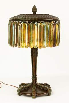 Tiffany Studios, NY Bronze & Glass Prism Lamp