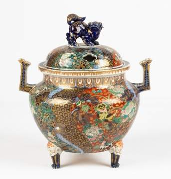 Imari Footed Pot with Foo Dog Lid