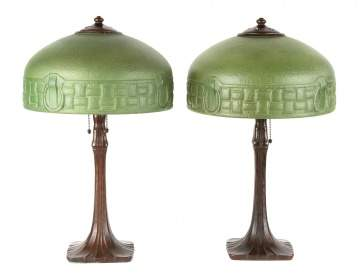 Pair Matching Handel Arts and Crafts Lamps