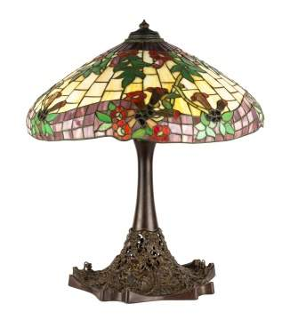 Unusual Leaded Glass Morning Glory Table Lamp