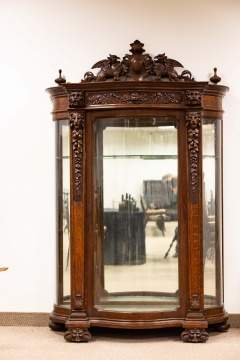 Exceptional American Oak China Cabinet