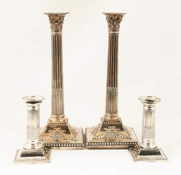 Two Pair of Sterling Silver Candlesticks