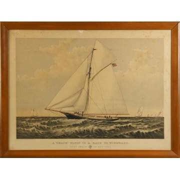 "Currier & Ives, ""A 'Crack' Sloop in a Race to"