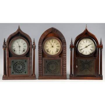 2 J.C. Brown and 1 Brewster Shelf Clocks
