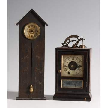 L - Rare Miniature Dickory Dock Clock, Shelf Model and R - Seth Thomas Strike a Light Clock