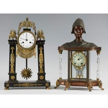 French Portico Clock w/Ebonized Marble & Gilt Bronze Mounts and Unusual Seth Thomas Empire #32