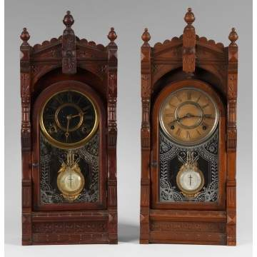 2 F. Kroeber Victorian Shelf Clocks