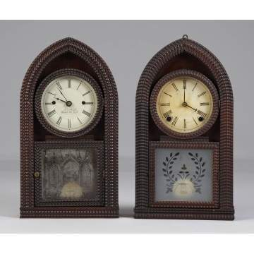 2 Ripple Front Beehive Shelf Clocks