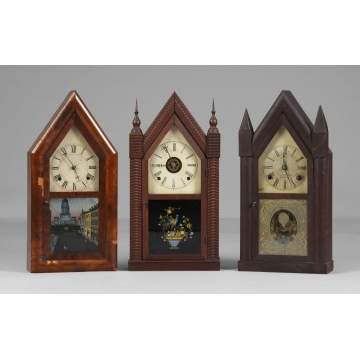 3 Steeple Shelf Clocks