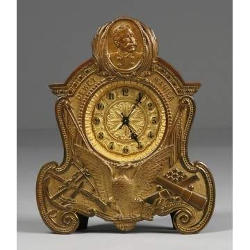Waterbury Admiral Dewey Brass Shelf Clock