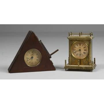 L - Unusual Kroeber Stop Watch Style with Sweep Second Hand, R - Kroeber Carriage with Alarm
