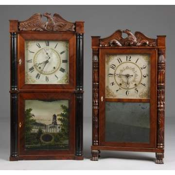 L - Henry Terry Shelf Clock. R - Eli Terry & Son Shelf Clock