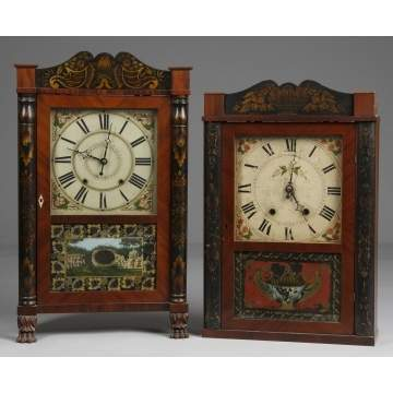 L - Ephriam Downs Shelf Clock. R - Mark Leavenworth & Co. Shelf Clock.