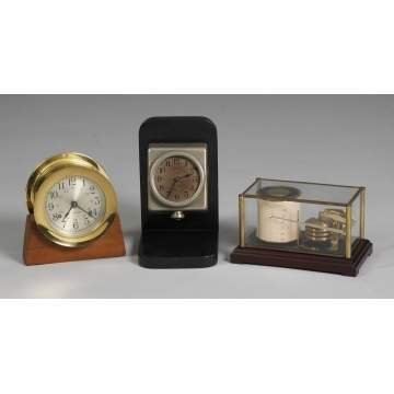 L - Seth Thomas Ship's Clock, C - Boston Clock Co. Locked Square Offset Auto Clock, R - German Barograph Meter