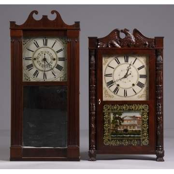 L - Orin Hart Transitional Reeded Column & Scroll,  R - Jerome & Darrow Shelf Clock.