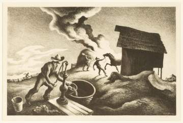 "Thomas Hart Benton (American, 1889-1975) ""Fire in the Barnyard"""