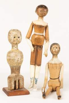 Three Early Queen Ann Carved & Painted Wood Dolls