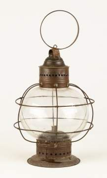 Whale Oil Onion Lantern with Blown Glass Shade