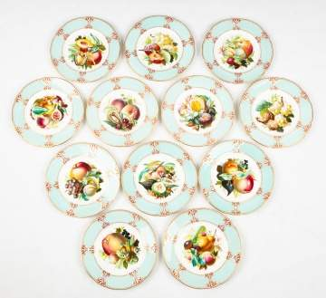 Twelve Copeland (before Copeland Spode) Hand Painted Plates