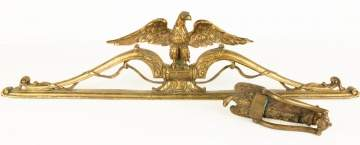 Brass Eagle Crest and Door Knocker with Eagle