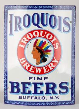 Vintage Iroquois Porcelain Brewery Sign