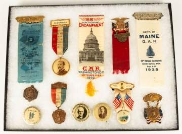 Group of Politcal G.A.R. Buttons and Ribbons