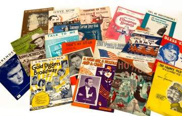Large Group of Vintage Lithograph Sheet Music