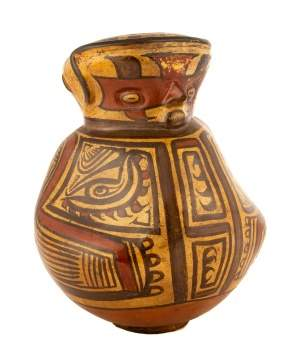 Pre Colombian Anthropomorphic Polychrome Vessel