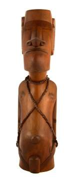 Carved Wooden Moai Figurine