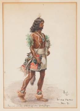 "Julian Scott (American, 1846-1901) ""Sa-mi-wi-ki, Chief of  the Antelope"""