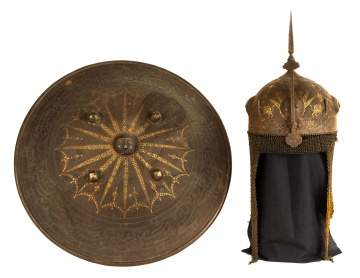 Inlaid Metal Helmet and Shield