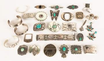 Group of Sterling Turquoise Buckles, Bracelets, etc.