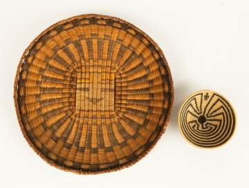 Hopi Wicker Plaque and Shallow Horsehair Basket