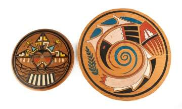 Two Hopi Round Wood Painted Plaques