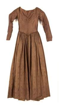 Chestnut Self-Figured Silk Dress