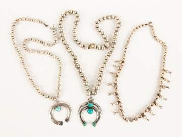 Three Navajo Silver and Turquoise Squash Necklaces