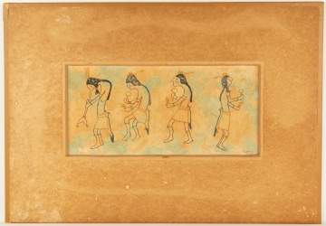 Oil on Board of Native Dancers