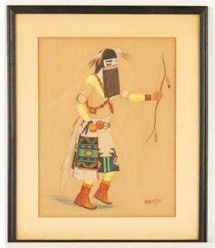Two Watercolors of Kachinas