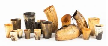 Collection of Early Horn Drinking Cups