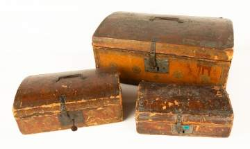 Three Early Dome Top Boxes