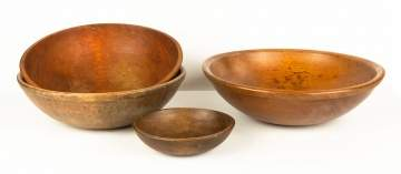 Four Turned Wooden Ware Bowls