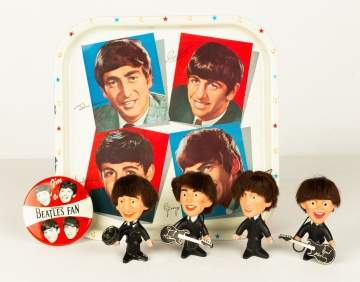 Beatles Memorabilia, Set of Remco Dolls, Enameld Tray & Pin