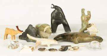 Group of Various Carved Inuit Sculptures & Artwork