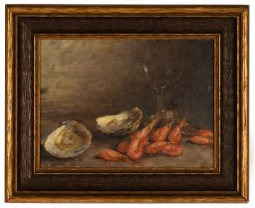 A. B. Bernard, Still Life of Oysters & Shrimp