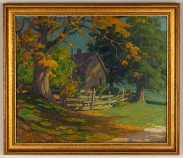 Attributed to John J. Inglis, Fall Landscape with Cottage