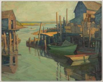 Clifford Ulp (New York, 1885-1957) Harbor Scene